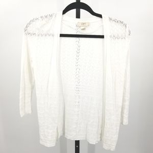 Loft Fashion Eyelet Cardigan Open Front White